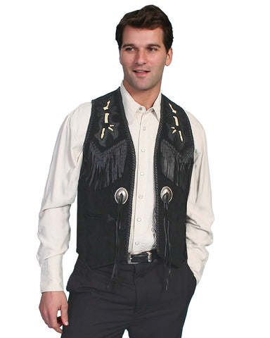 Men's Boar Suede Beaded Vest - Black