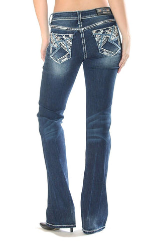 Womens Junior Fit Heavy Stitch Boot Cut Jeans