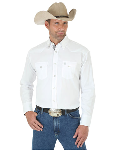 Men's George Strait Troubadour Solid Long Sleeve Shirt - White