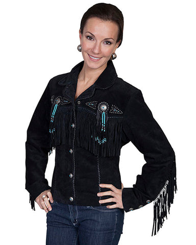 Women's Fawn Suede Beaded Jacket - Black