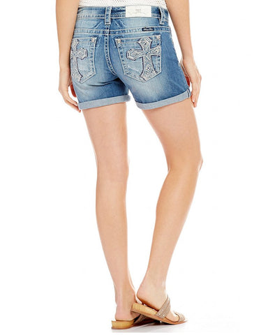 Womens Cross Embroidered Shorts