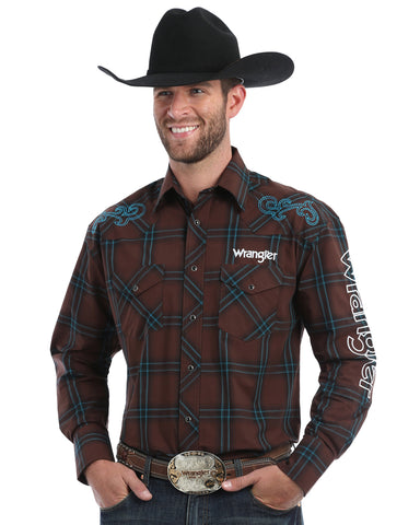 Men's Plaid Wrangler Logo Long Sleeve Western Shirt