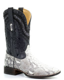 Mens Natural Python Square Toe Boots