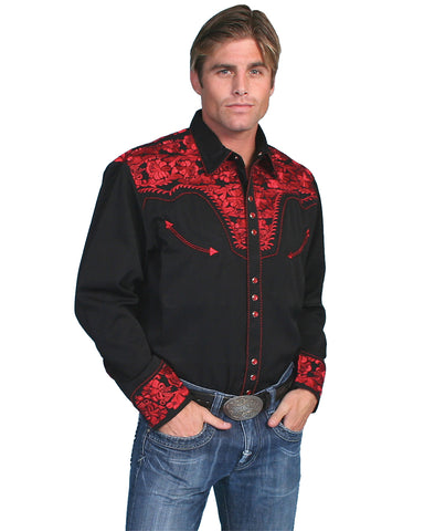 Men's Floral Embroidered Western Shirt - Crimson