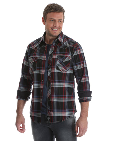 Mens Rock 47 Embroidered Plaid Long Sleeve Western Shirt - Black