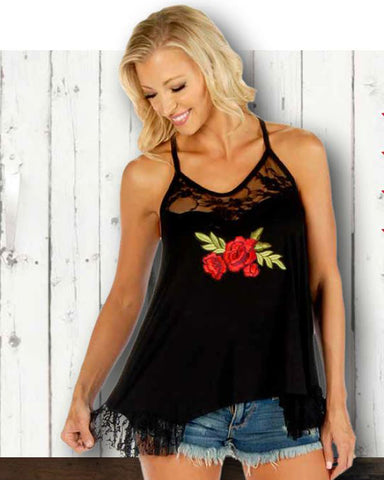 Women's Pretty Roses Lace Tank Top