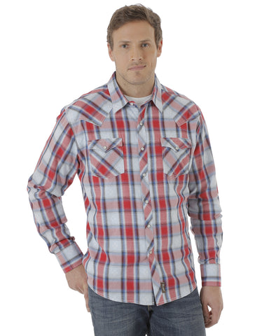Men's Retro Americana Plaid Long Sleeve Shirt