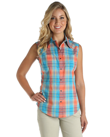 caa721aacf5de1 Womens Real As Wrangler Sleeveless Western Shirt – Skip s Western ...