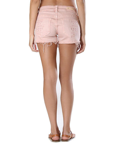 Womens Aztec Embroidered Shorts - Pink