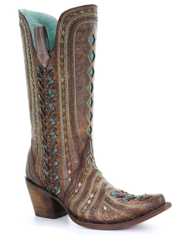 Women's Heavy Woven Western Boots - Brown