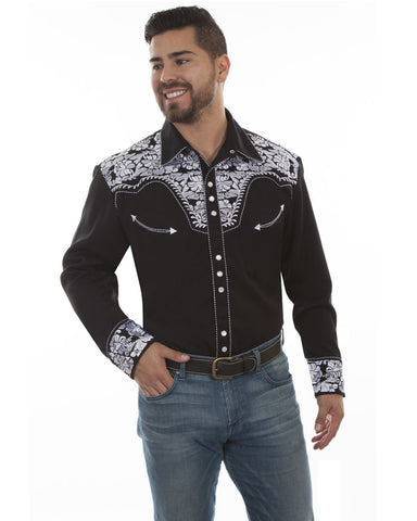 Mens Floral Embroidered Western Shirt - Black & White