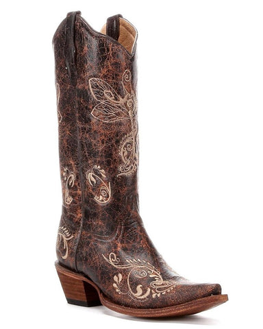 Womens Distressed Dragonfly Embroidery Boots