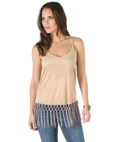 Womens Faux Suede Strappy Tank Top