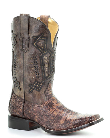 Mens Caiman Overlay Embroidered Boots
