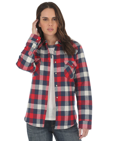 Women's Sherpa Lined Boyfriend Fit Flannel Shirt