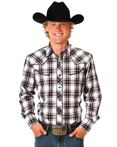 Men's Classic Long Sleeve Plaid Western Shirt - Grey
