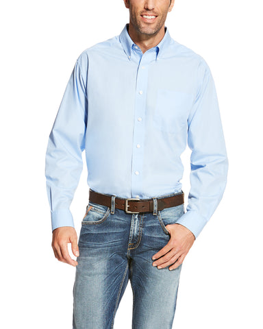 Mens WF Solid Long Sleeve Western Shirt - Blue