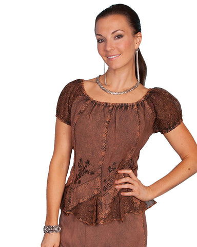 Womens Tie Back Lace Short Sleeve Blouse - Copper