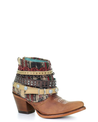 Womens Studded Harness Ankle Boots