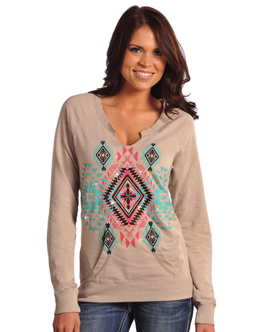 Womens Aztec Print Long Sleeve Shirt