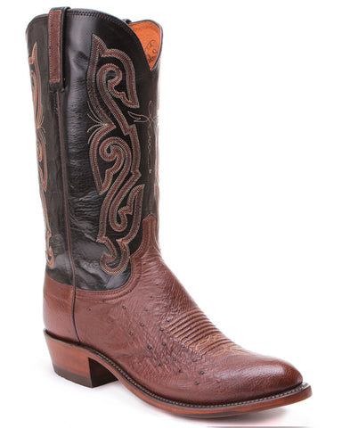 Men's Smooth Ostrich & Calf Boots - Cigar