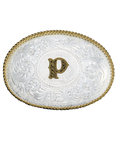 Engraved Initial P Medium Oval Buckle