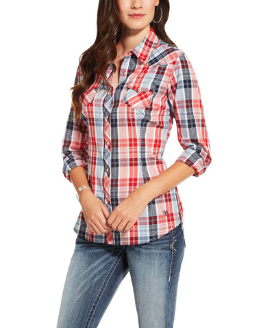 Womens Eagle Plaid Western Shirt