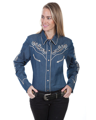 Women's Denim Embroidered Western Shirt