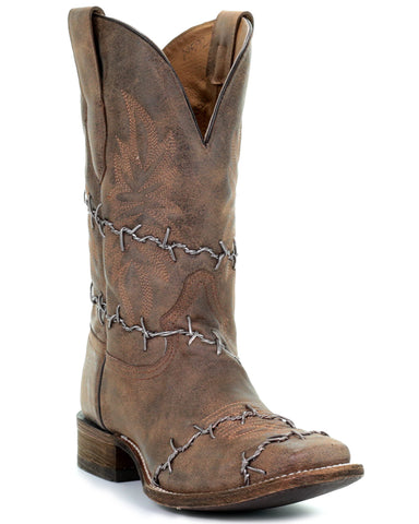 Mens Barbwire Square Toe Boots