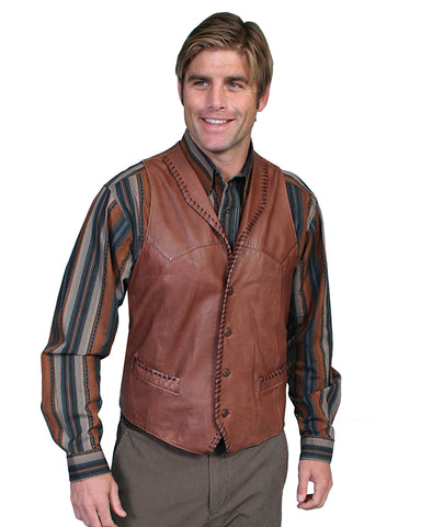 Men's Whip Stitch Lamb Vest - Tan