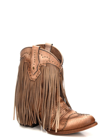 Womens Embroidered Fringe Ankle Boots