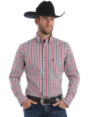 Men's Plaid Performance Long Sleeve Western Shirt