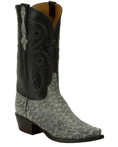 Men's Grey Full-Quill Ostrich Boots