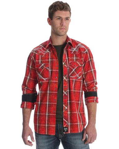 Mens Rock 47 Embroidered Yoke Plaid Western Shirt