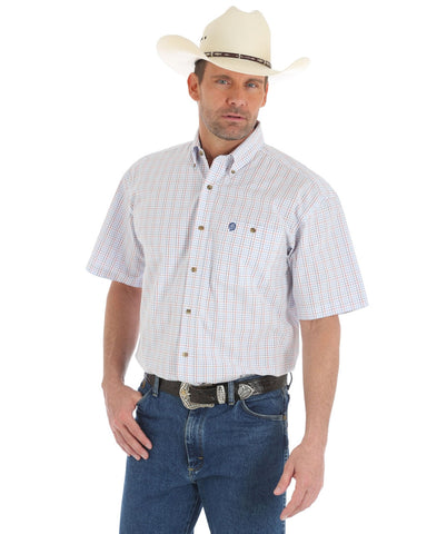 Men's George Strait Checkered Short Sleeve Western Shirt - White