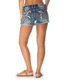 Womens Multi Color Floral Embroidered Shorts