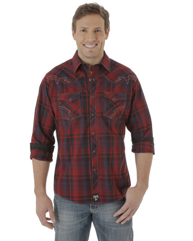 Men's Rock 47 Western Plaid Long Sleeve Shirt - Red