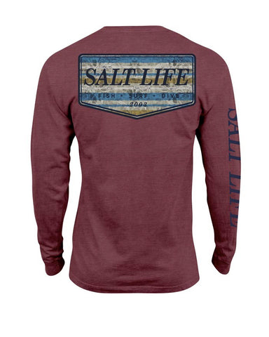 Mens Marlin Sky Badge Long Sleeve T-Shirt - Red