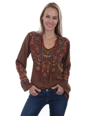 Women's Intricate Embroidered V-Neck Blouse