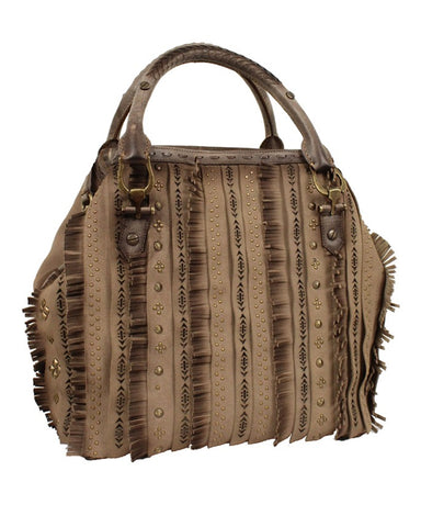 Womens Studs With Fringe Leather Purse
