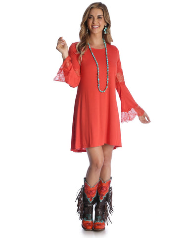 Womens Accented Bell Sleeve Crochet Dress - Red