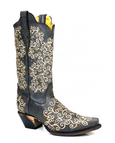 Women's Embroidered Boots - Grey