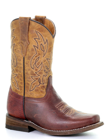 Kid's Two Toned Western Boots - Brown