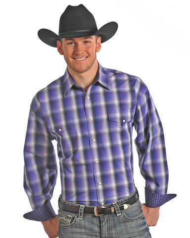 Mens Poplin Plaid Western Shirt