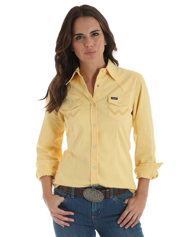 Women's Serged Hem Long Sleeve Western Shirt - Yellow