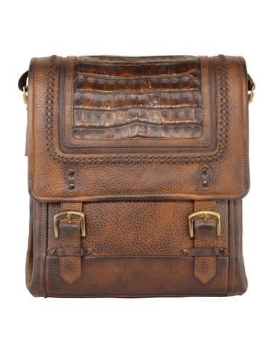 Mens Woven Caiman Leather Bag - Honey