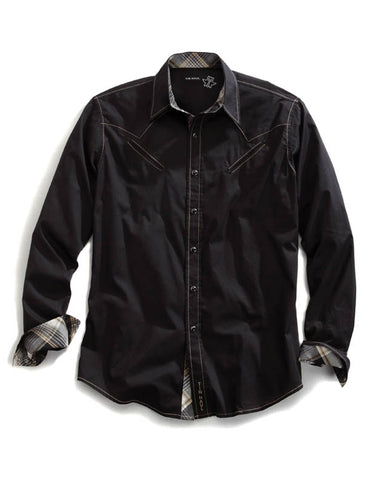 Men's Solid Long Sleeve Poplin Shirt - Black