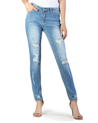 Womens Destroyed Easy Fit Skinny Jeans