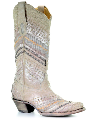Womens White Studded & Embroidered Boots