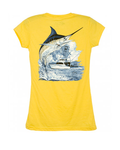 Womens Marlin Boat T-Shirt